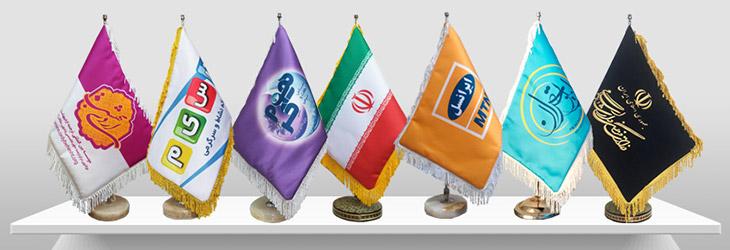 چاپ پرچم با میله و پایه سنگی رومیزی